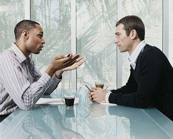 2 people talking