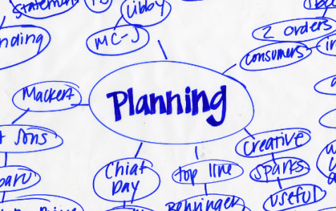 "Flow chart with ""planning"" written in the middle."