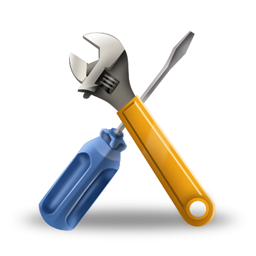 Screwdriver and wrench crossed to create an 'x' shape