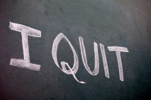 "Chalkboard with ""I Quit"" written on it."